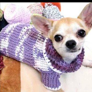 Purple Knit Dog Sweater
